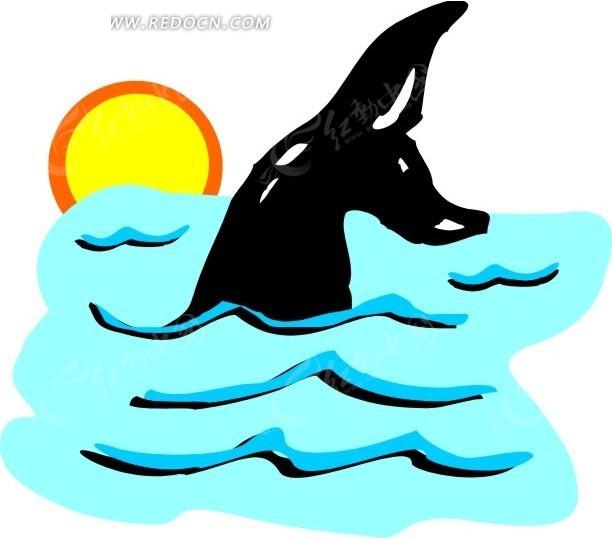 跃进水面的鲸鱼手绘素材矢量图免费下载
