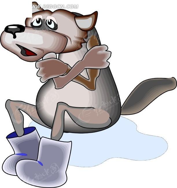 卡通画冻得抱着双手的狼其他素材免费下载 编号1706285 红动网