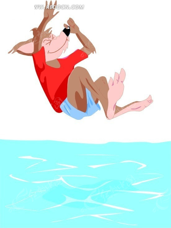 手绘跳水的小狼