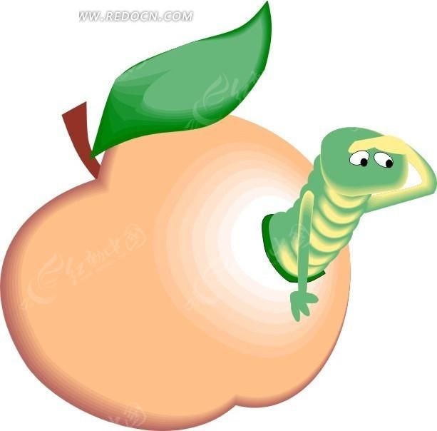 虫子 苹果 卡通动物 卡通画 插画 手绘 矢量素材 动物图片 卡通形象