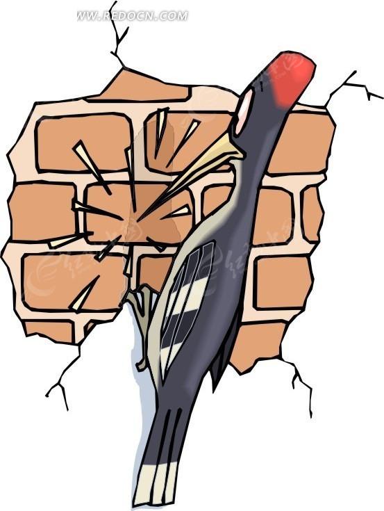 手绘啄墙的啄木鸟