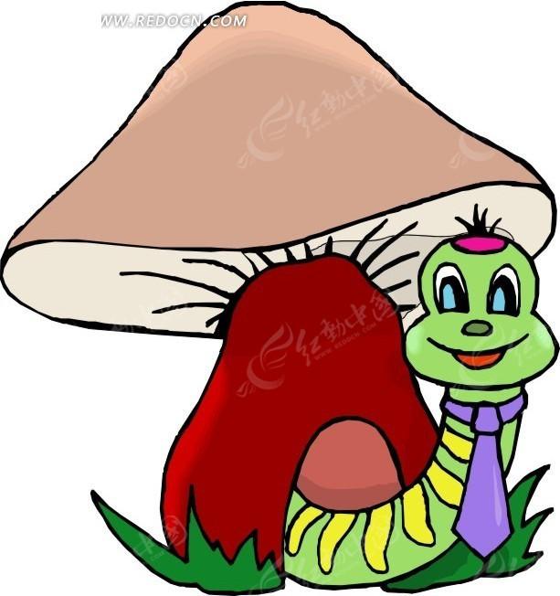 手绘绿色毛虫和蘑菇