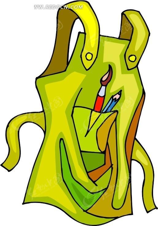 画笔  铅笔 黄色围裙 卡通 绘画 手绘 办公用品 生活百科 矢量素材