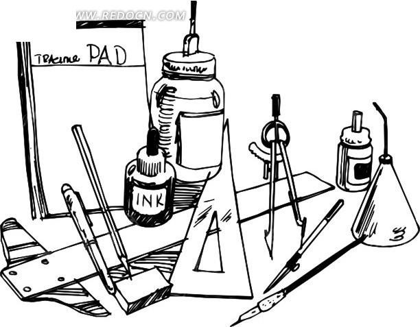 手绘绘图用具矢量图_办公学习