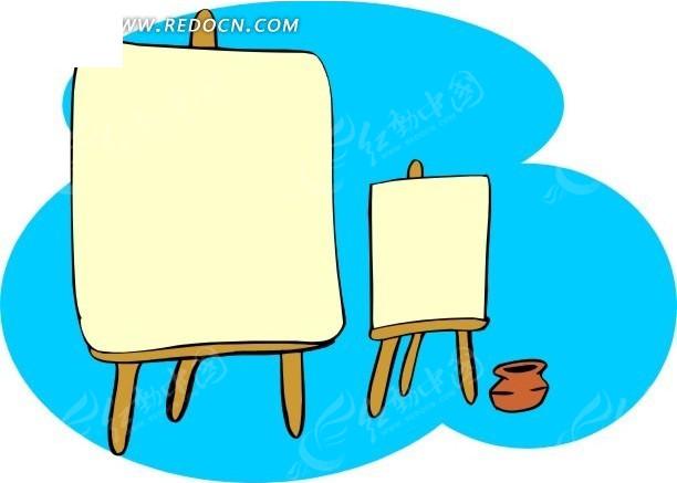 手绘画架和罐子