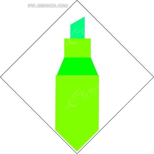 手绘绿色荧光笔