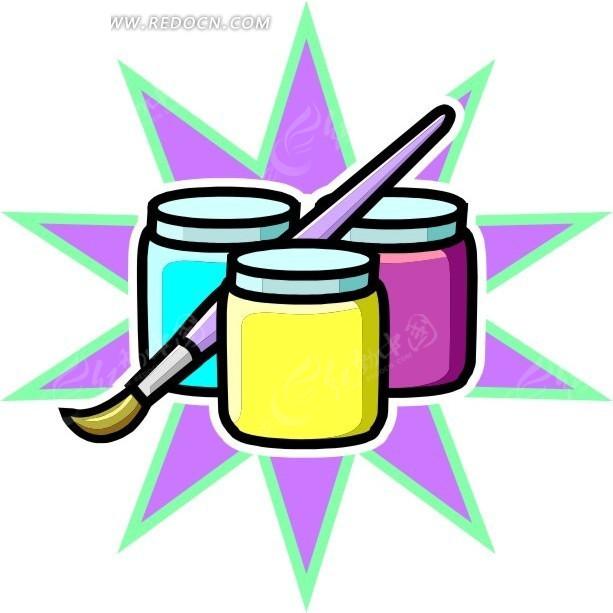 颜料瓶 画笔 绘画用品
