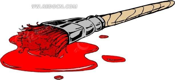 手绘红色油漆刷