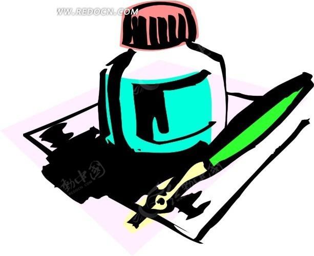 手绘墨水瓶和笔
