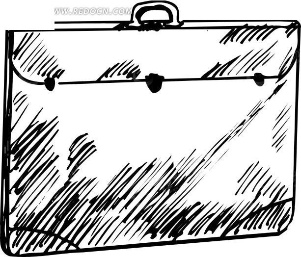线描简笔画公文包