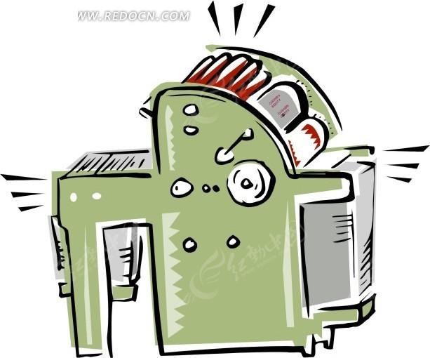 印刷机 机器 纸张 卡通 绘画 手绘  浅绿色机器 办公用品 生活百科