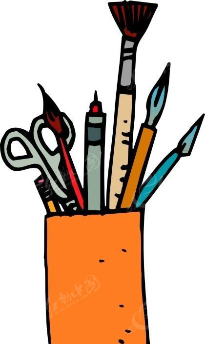 手绘笔筒和文具