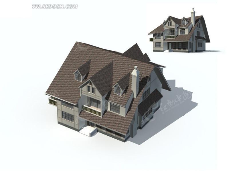 欧式时尚典雅风格高档别墅3d立体模型素材