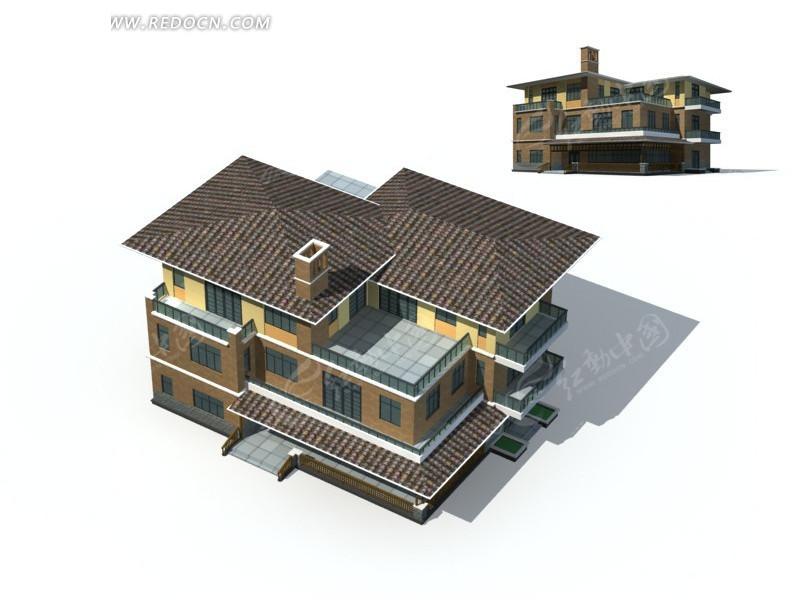 免费素材 3d素材 3d模型 建筑模型 豪华优雅高档别墅3d立体模型  请您