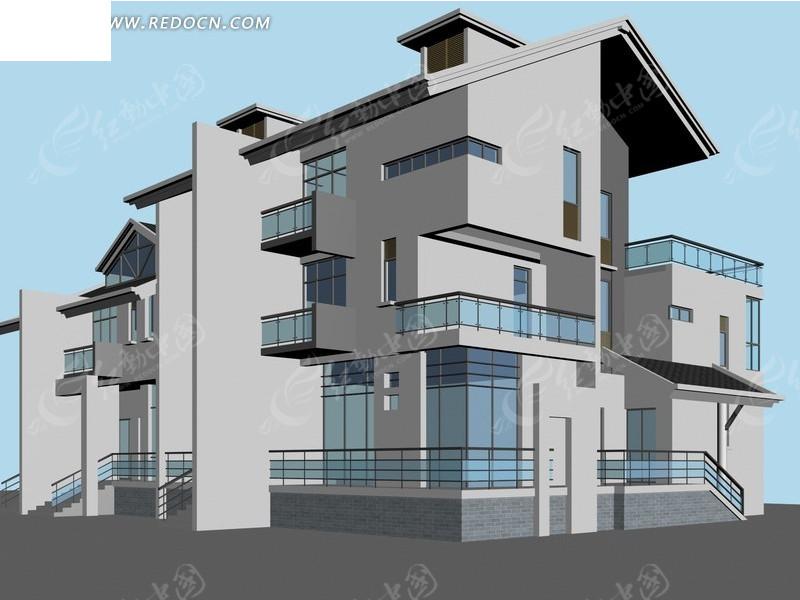 现代独栋多层别墅3d模型设计