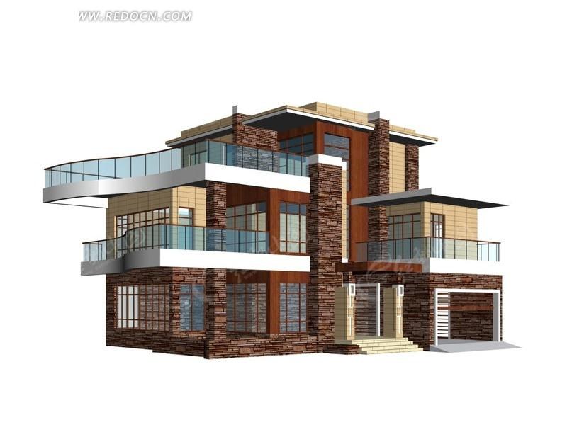 创意设计独栋多层别墅3d效果图设计
