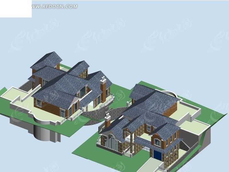 别墅建筑群3d效果图设计