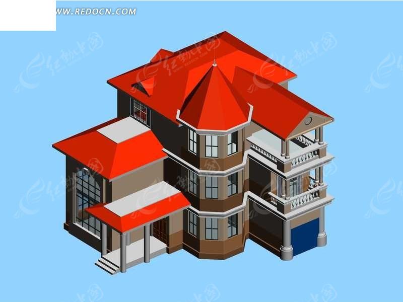 红瓦的欧式别墅3d模型图片