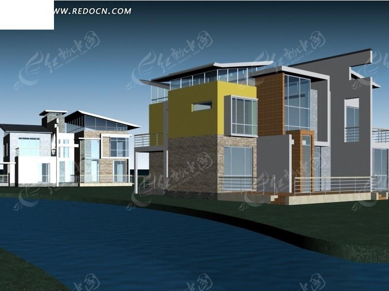 别墅区建筑群3d效果图设计