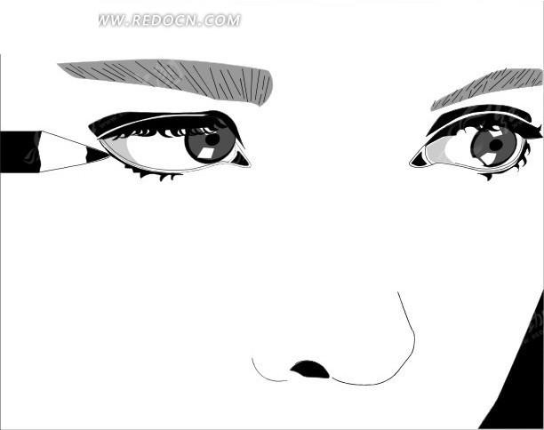 画眼线的美女矢量图编号:1709759 生活用品