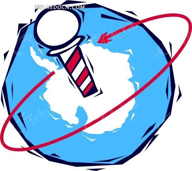 手绘地球上双色旋转柱矢量图