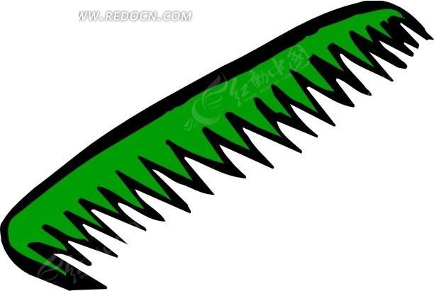 绿色卡通梳子图片
