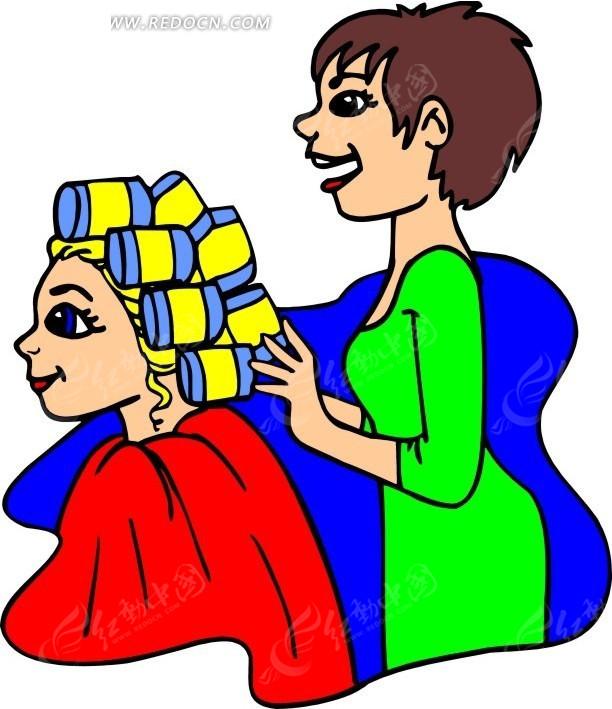 帮美女卷头发的理发师矢量图