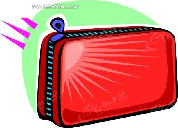 手绘红色手包矢量图_生活用品