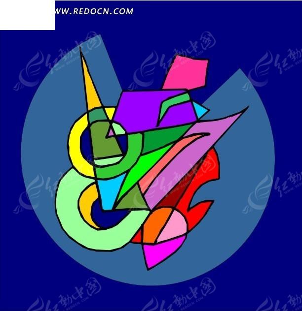 手绘色彩交集的几何图案