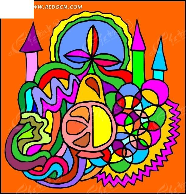 手绘 缤纷 叶蔓 草纹 彩色 城堡 堡垒   生活图片 人物素材 人物图片
