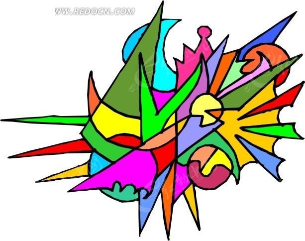 几何形 色块 抽象 手绘 装饰画 书画 wmf格式 矢量素材 生活图片 人物