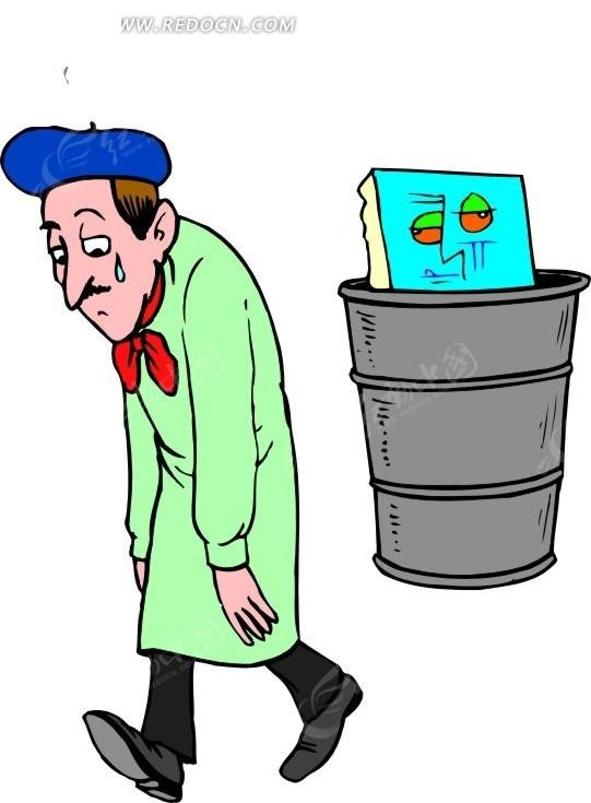 把作品丢进了垃圾桶里的卡通人物