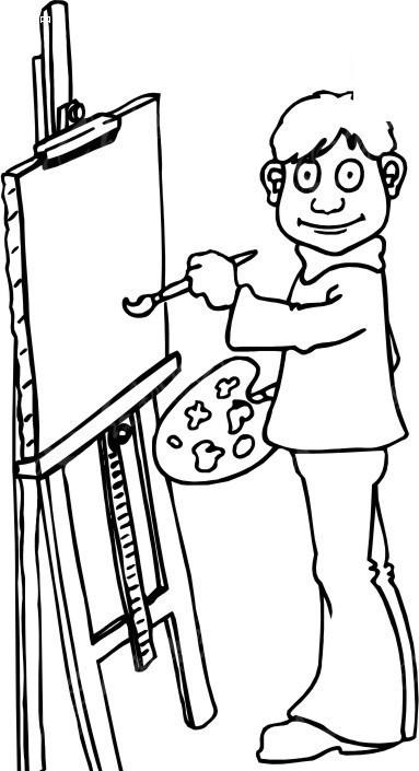 简笔画 画板前作画的人物