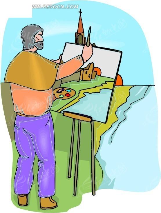 wmf格式 卡通 绘画 手绘 画画 风景画 采风 写生 画家 男人  生活图片