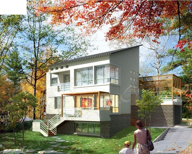 别墅住宅区环境绿化日景效果图