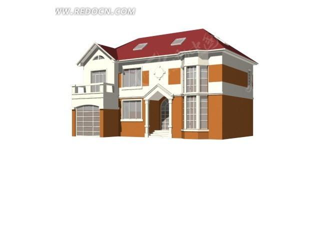 农村别墅模型 欧式3d联排别墅模型设计
