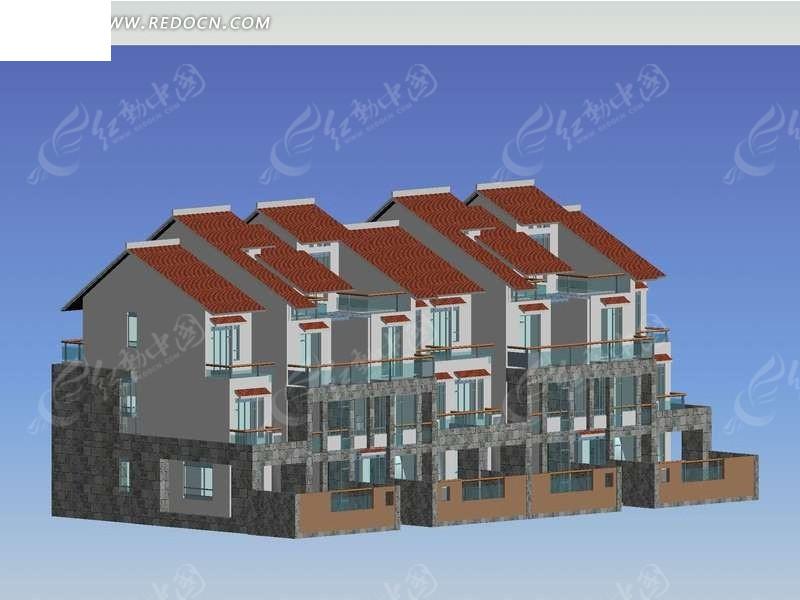 双面斜顶连排多层别墅建筑3d效果图图片高清图片