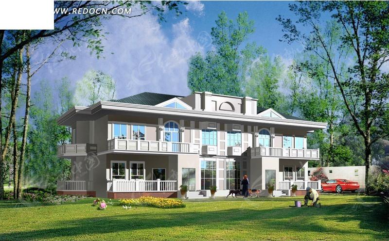 欧式双层别墅日景效果图设计