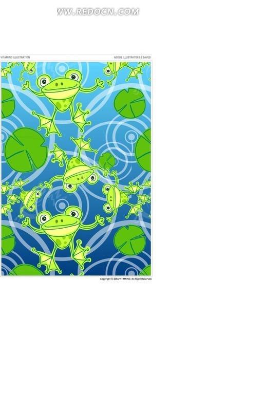 青蛙荷叶圆形矢量图