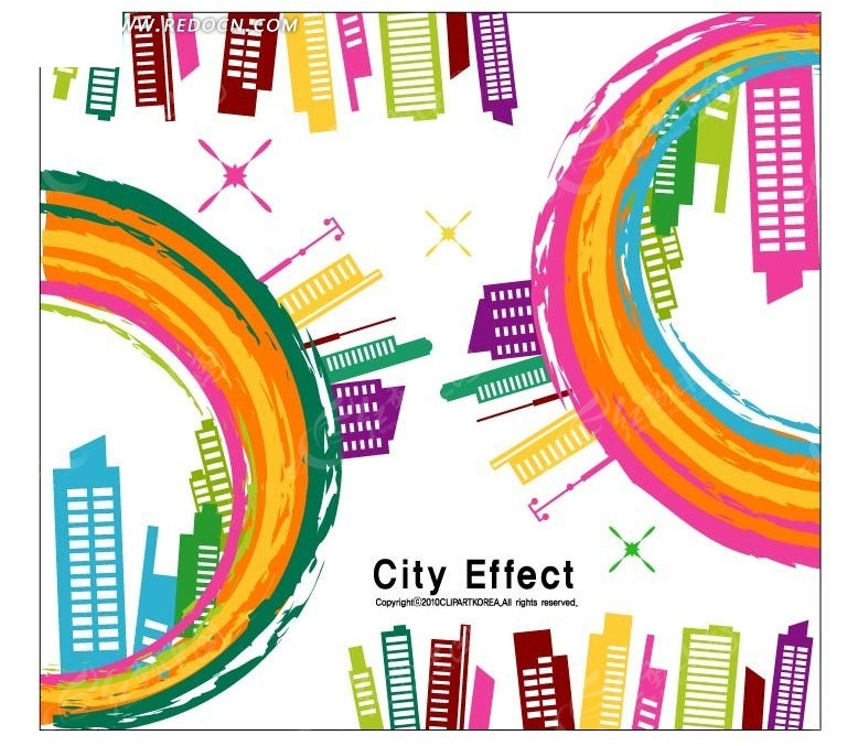 手绘彩色圆圈和城市花纹背景