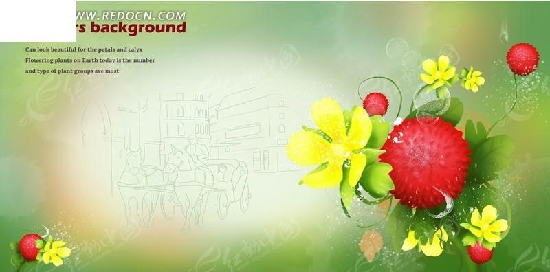 绿色调建筑线稿背景上的手绘千日红与五瓣花