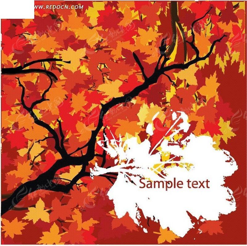 手绘红色枫叶树枝卡片设计