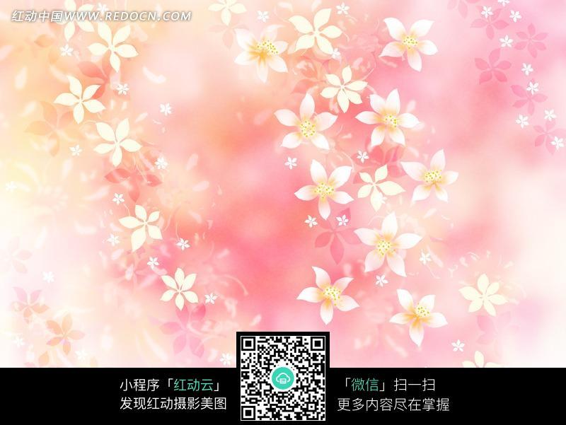 粉色系白色花朵花瓣图案背景素材图片