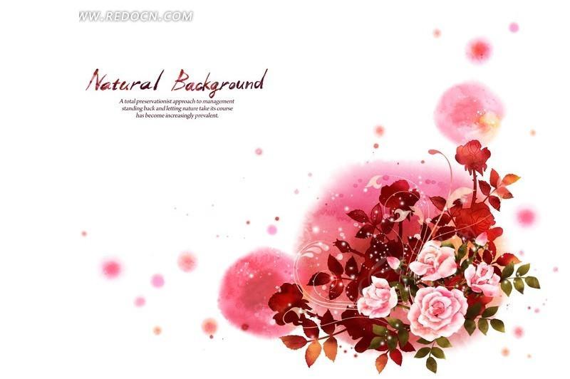 红色调涂鸦背景的手绘牡丹花