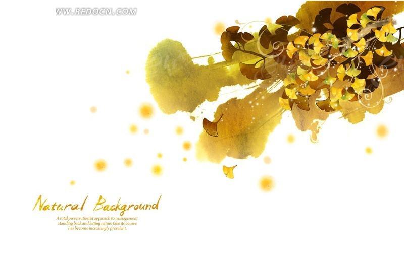 涂鸦背景上的手绘黄色银杏叶