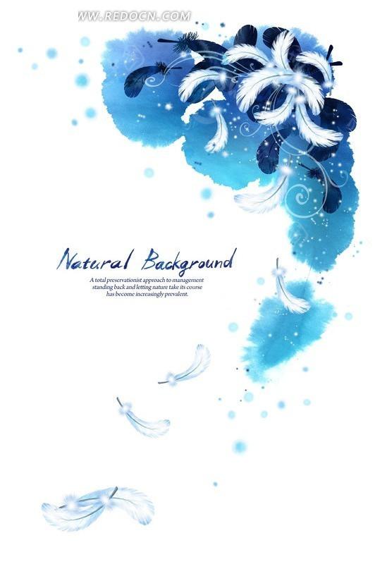 蓝色调涂鸦背景上的手绘羽毛