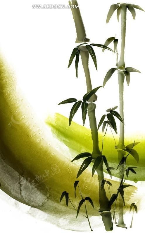 笔刷涂鸦背景上的手绘竹子