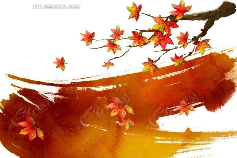 笔刷涂鸦背景上的手绘枫叶