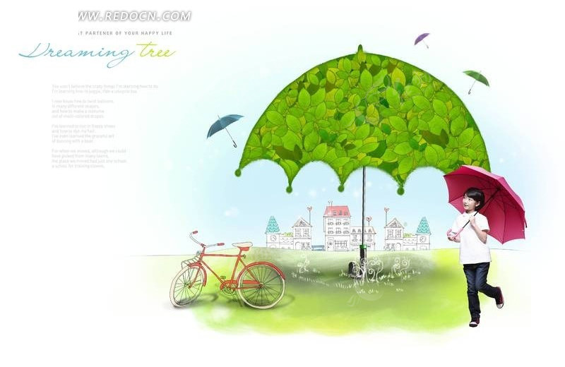 手绘绿伞大树下撑着红伞的小女孩