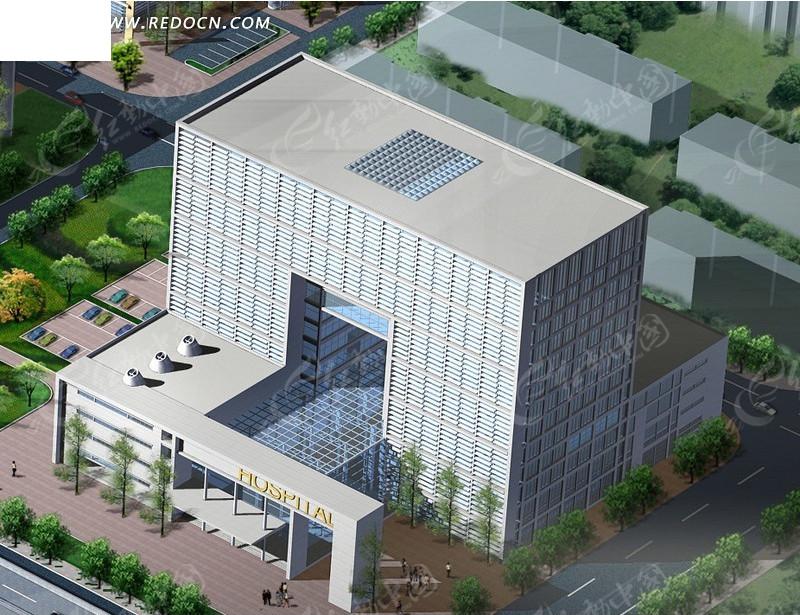 医院大楼鸟瞰效果图设计高清图片